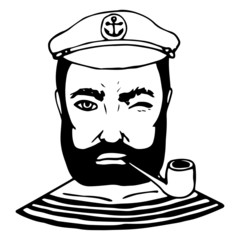 Hand-drawn character sailor. Black and white doodle. Vector
