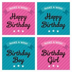 Birthday greeting card, boy and girl design