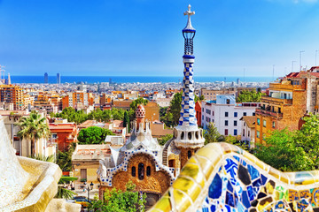 Photo sur Toile Barcelone Gorgeous and amazing Park Guel in Barcelona.