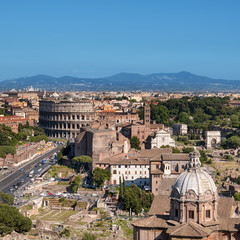 Fototapete - Ariel view of Rome: including the Colosseum and Roman Forum..