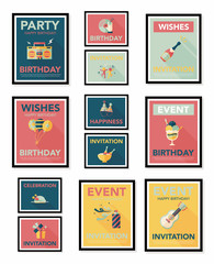 Birthday poster flat banner design flat background set, eps10