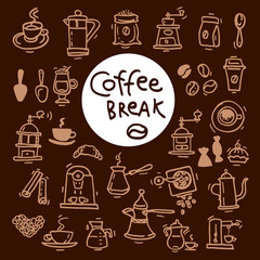 Sketch doodle coffee icon set. Hand drawn vector illustrations.
