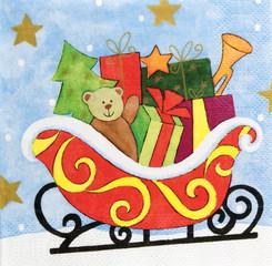 Beautiful sleigh pattern on napkin paper