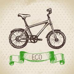 Sketch ecology vintage background. Hand drawn vector