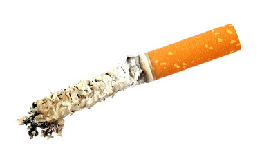 Cigarette butt with ash, isolated on white background