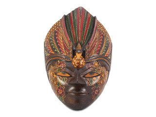 wooden painted mask on white
