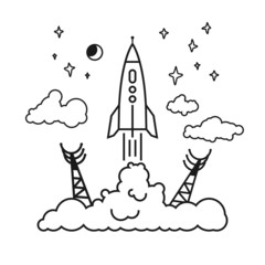 Start of the rocket in clouds, vector illustration