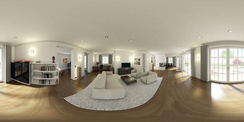 Küche-Wohnraum 3D 360