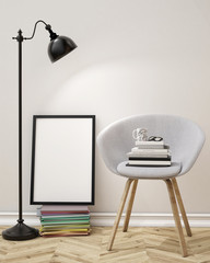 3D blank poster, lap and chair, background