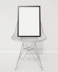 3D model, poster frame on the chair, background
