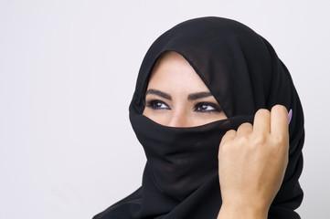 Beautiful girl wearing burqa closeup