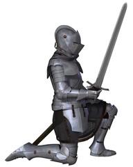 Fifteenth Century Medieval Knight in Kneeling Pose