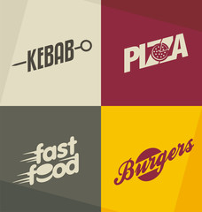 Set of unique fast food logo design concepts and ideas