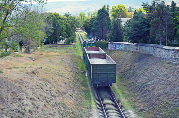 Freight train, top view