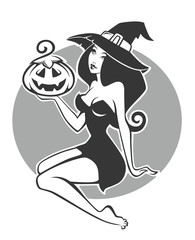 young, attractive and romantic witch