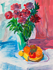 Bright summer still life with flowers and fruits. Oil sketch.