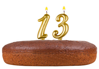 birthday cake with candles number 13 isolated