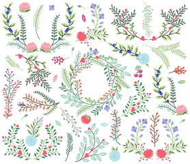 Vector Collection of Vintage Style Hand Drawn Florals - Great fo