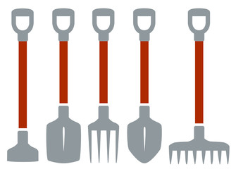isolated tools for gardening work