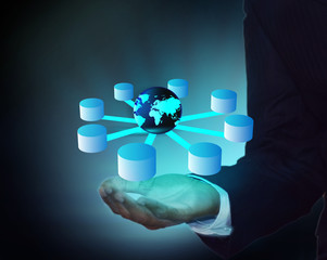 Data warehouse and data integration in business man hand