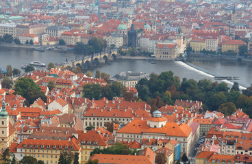 Views over Prague from the height of Petrin Hill.