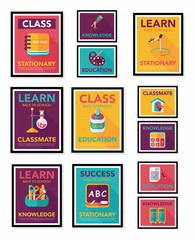 School poster flat banner design flat background set, eps10