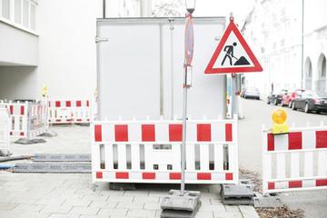Baustelle auf Gehweg