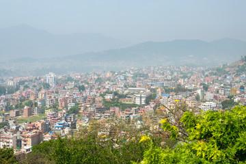 Panorama view to Kathmandu city from Swayambhunath temple