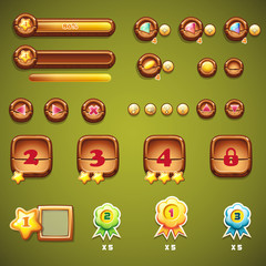 Set of wooden buttons, progress bars, and other elements for web