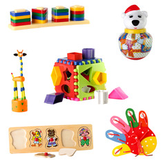 collection of toys for young children isolated on white backgrou