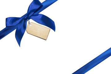 Blue gift ribbon with card
