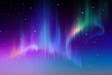 Aurora Borealis in starry polar sky, illustration
