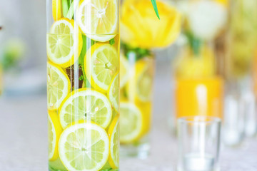 Sliced lemon in fase with flower