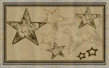 Sterne Holz und Leinen