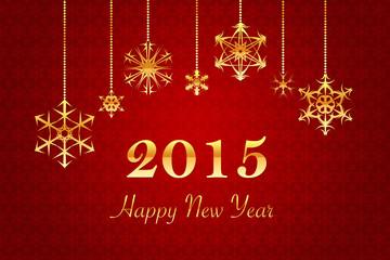 roter Retro Hintergrund mit goldener Happy New Year 2015 Schrift