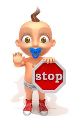 Baby Jake with a stop sign