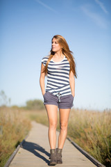 woman walking outdoor with casual clothes