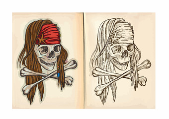Children's coloring book - Skull