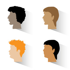 Set of man's profiles.