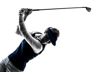 Photo sur Plexiglas Golf woman golfer golfing silhouette