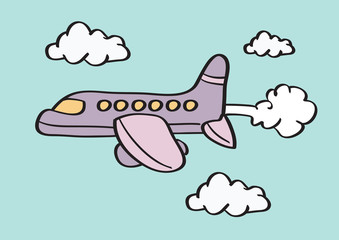 Airplane in Sky Cartoon Vector Illustration