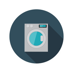 Flat Design Concept Washing Machine Vector Illustration With Lon