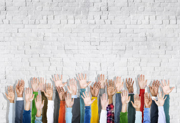 Group of Multiethnic Diverse Hands Raised