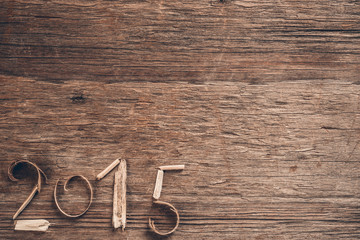 Happy New Year 2015 wooden background