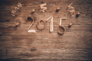 New Year 2015 vintage wooden background