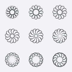 Circle geometric ornaments. Spirographs set.