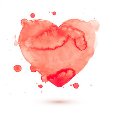 Hand draw watercolor aquarelle art paint love red heart with