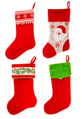 christmas stocking. red sock with Santa Claus. winter holidays s