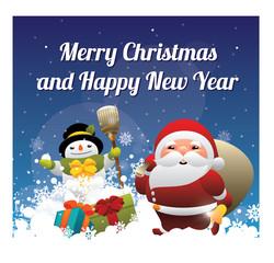 Christmas card with Santa and snowman. Vector