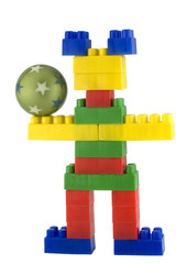 Toy men made of colorful building blocks